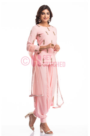 Fusion High Low Kurta with Elephant Pants front view