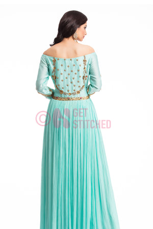 Aqua Blue Off Shoulder Cocktail Gown back