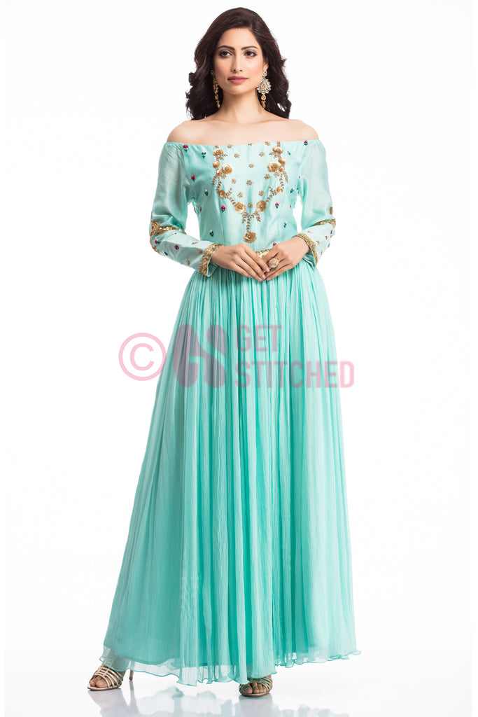Aqua Blue Off Shoulder Cocktail Gown - Delhi Tailoring service