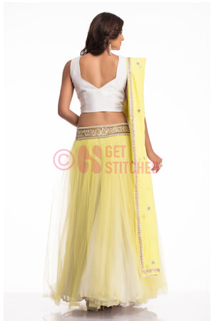 Flouroscent Yellow Lehenga Choli Set back view