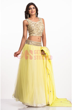 Flouroscent Yellow Lehenga Choli Set front view