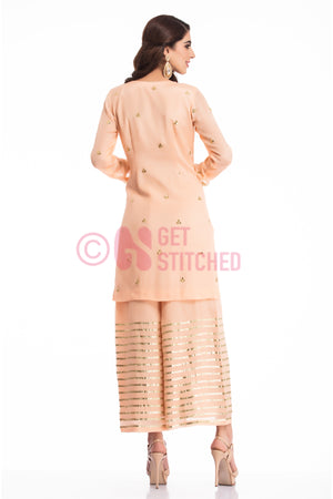 Peach Gottapati Kurta & Palazzo Set back view