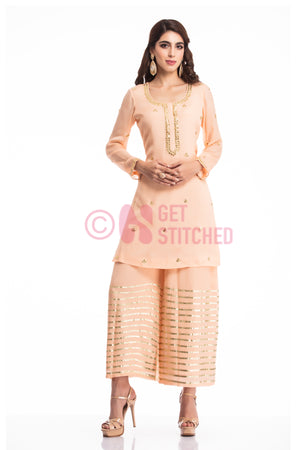 Peach Gottapati Kurta & Palazzo Set at your doorstep