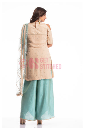 Peach Kurta with Overlap Palazo Set back view