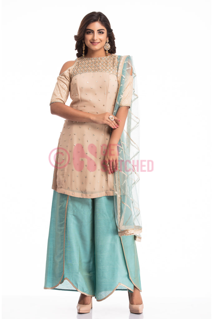 Peach Kurta with Overlap Palazzo Set in Delhi home delivery