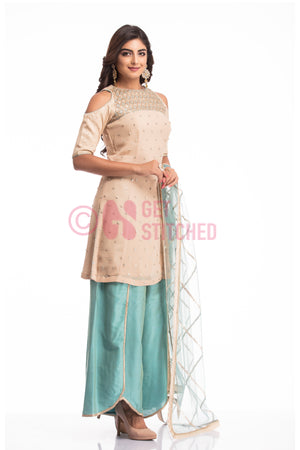 Peach Kurta with Overlap Palazo Set
