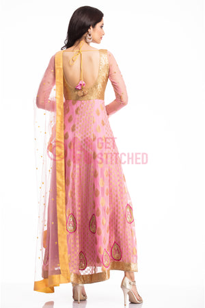 Golden & Pink Anarkali Churridar Set back view