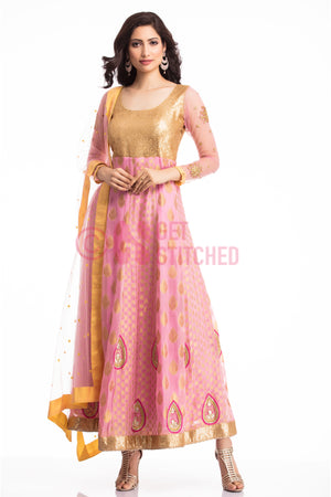 Get Golden & Pink Anarkali Churridar Set at doorstep