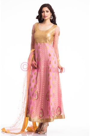 Golden & Pink Anarkali Churridar Set front view
