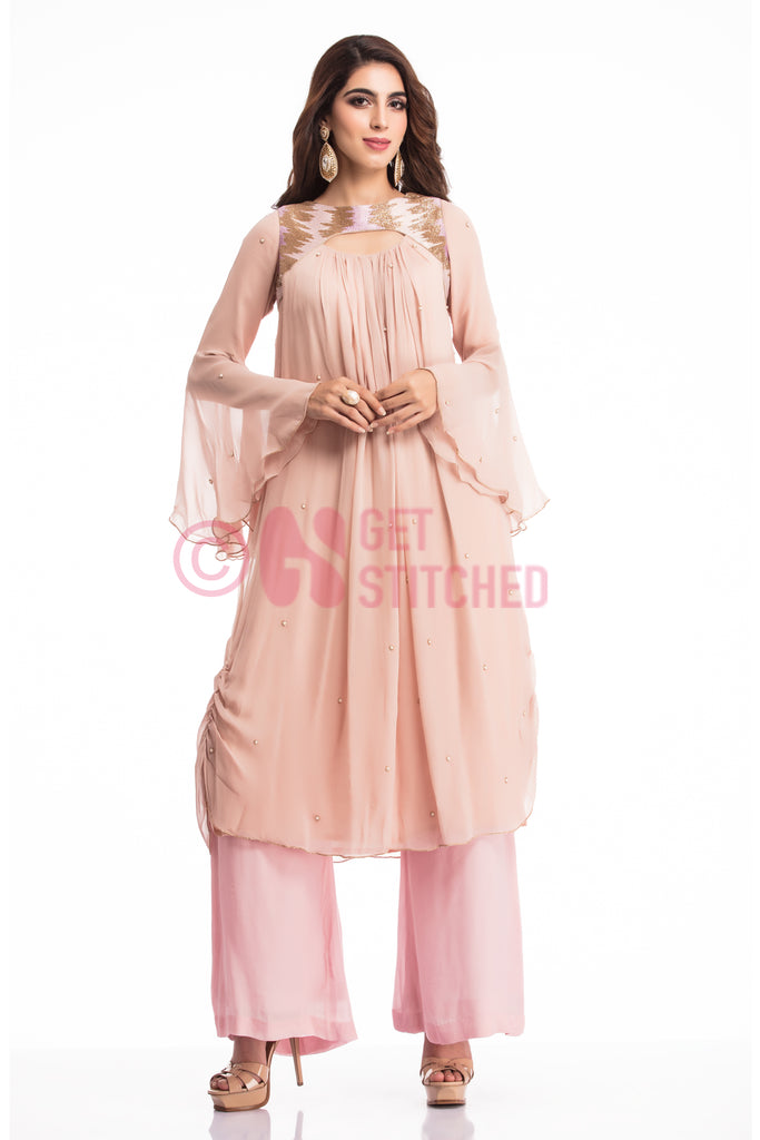 Powder Pink Kurta with Palazzo Set