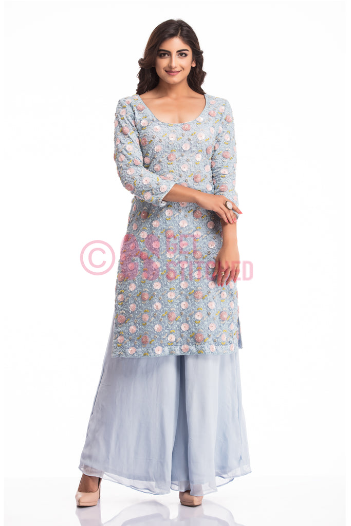 Powder Blue Kurta with Kalidar Palazzo at doorstep