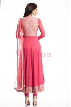 Buy Dark Onion Pink Anarkali Kurta at your doorstep in Delhi by fashion designers