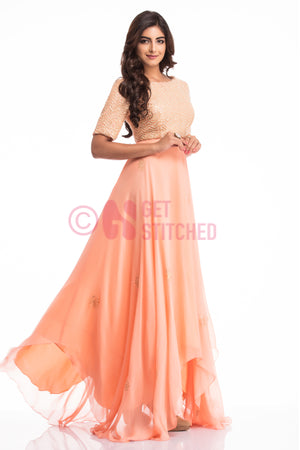 Peach Asymmetrical Handkerchief Gown at your doorstep