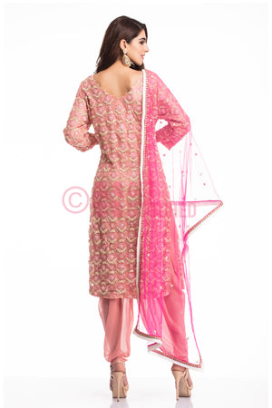 Onion Pink kurta & dhoti pant set back view