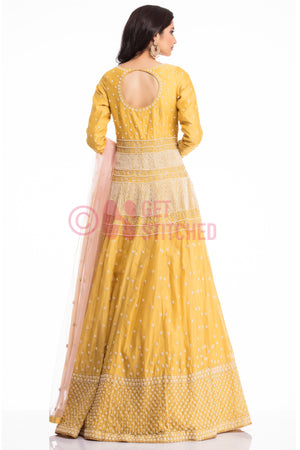 Yellow Anarkali Gown back view