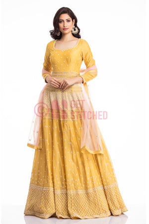 Yellow Anarkali Gown for perfect occasion at your doorstep in Delhi