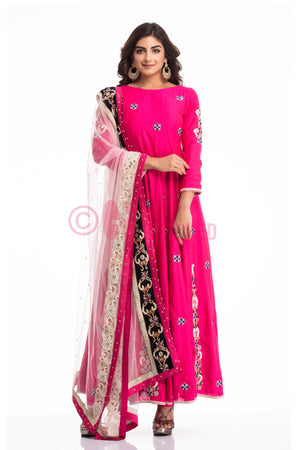 Fuschia Pink Anarkali & Churridar
