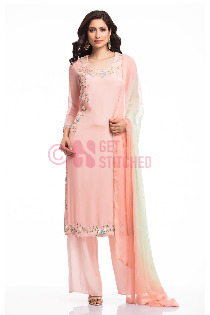 Peachish Pink kurta & palazzo set at doorstep