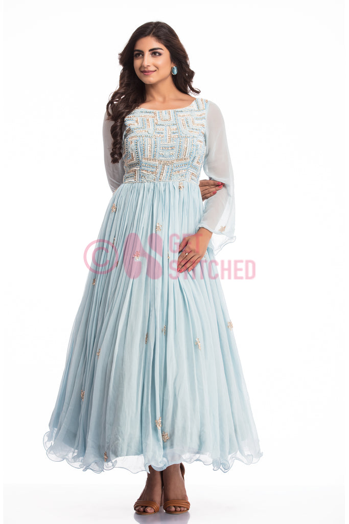 Powder Blue Cocktail Gown at doorstep for perfect evening