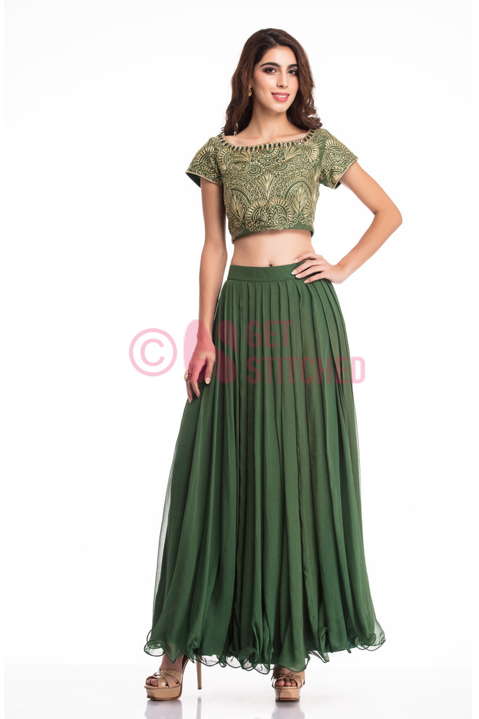Buy Bottle Green Skirt & Crop Top by fashion designer