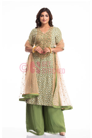 Buy Bottle Green Kurta & Kalidar Palazzo at your doorstep in Delhi.
