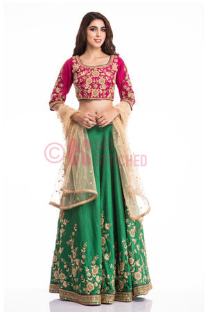 Buy Fuschia Pink & Green Lehenga Choli Set in Delhi