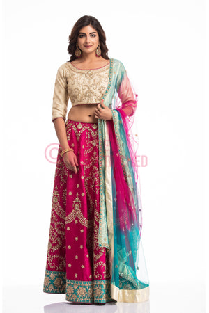 Biege & Pink Lehenga Choli Set at your doorstep in Delhi