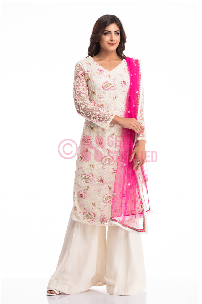 Get this Off White Kurta & Kalidar Palazzo Set doorstep