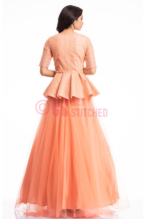 Sunset Peach Peplum Top & Skirt back view