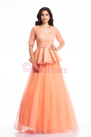 Sunset Peach Peplum Top & Skirt at doorstep in Delhi