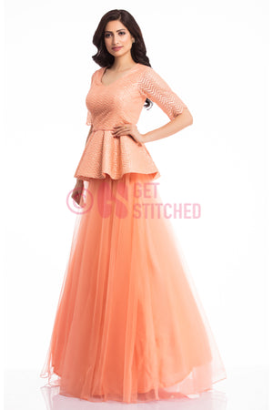 Sunset Peach Peplum Top & Skirt