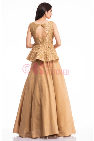 Golden Peplum Top & Skirt back view