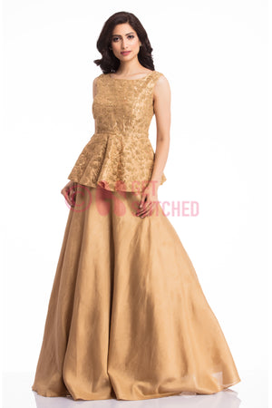 Golden Peplum Top & Skirt at doorstep