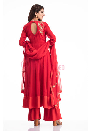 Blood Red Kalidar Kurta with Palazzo back view