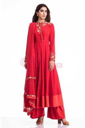 Blood Red Kalidar Kurta with Palazzo at your doorstep in Delhi
