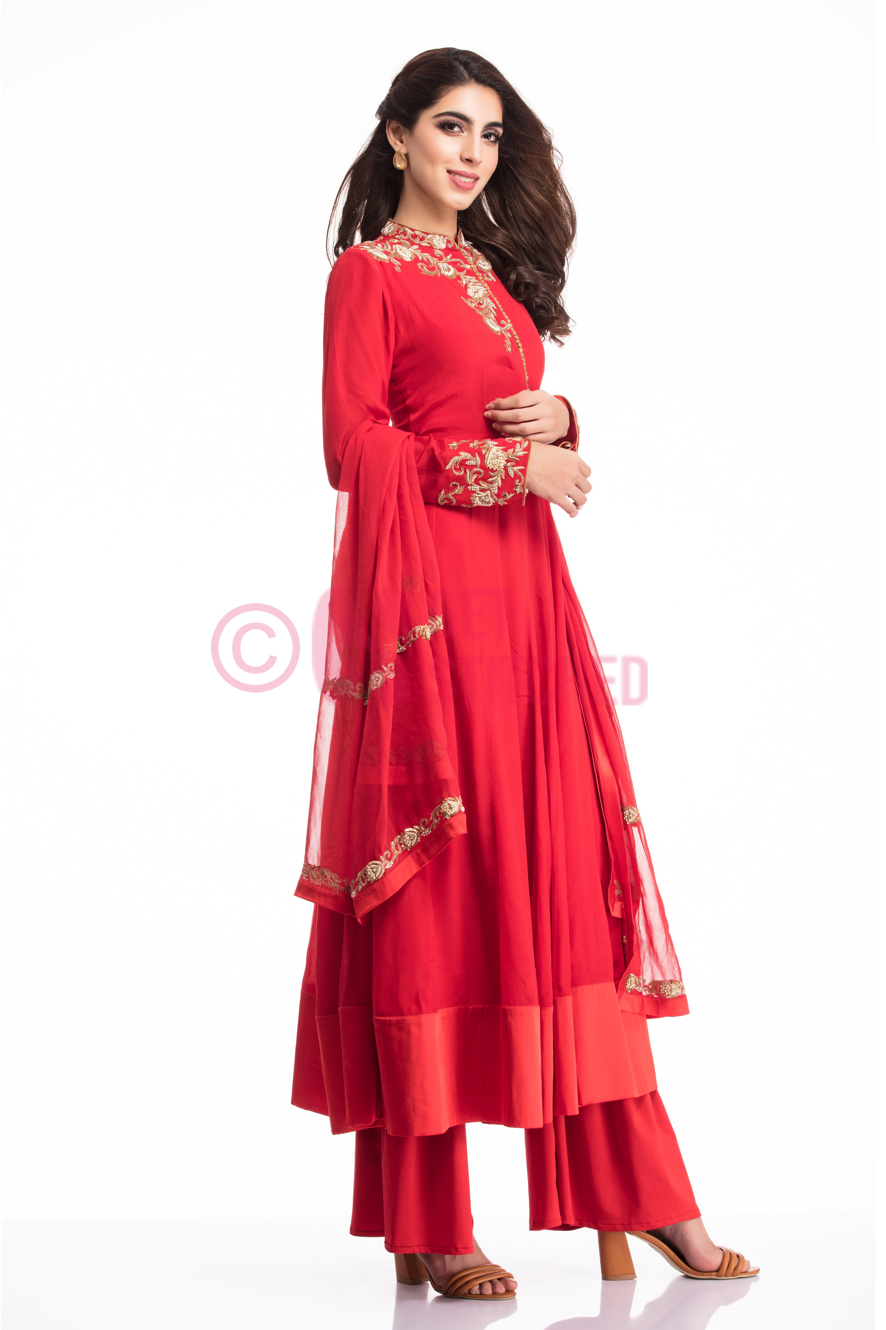Blood Red Kalidar Kurta with Palazzo