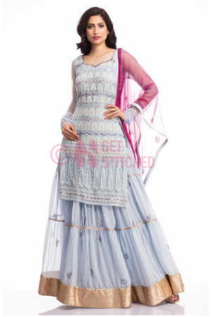 Powder Blue Kurta & Skirt by expert designers at your doorstep