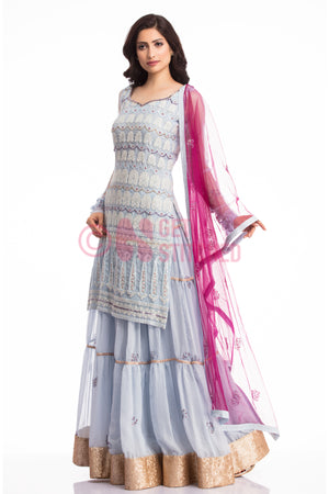 Powder Blue Kurta & Skirt