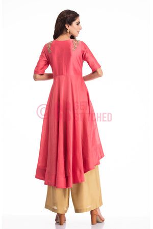 Dark Onion Pink High Low Kurta Set back view