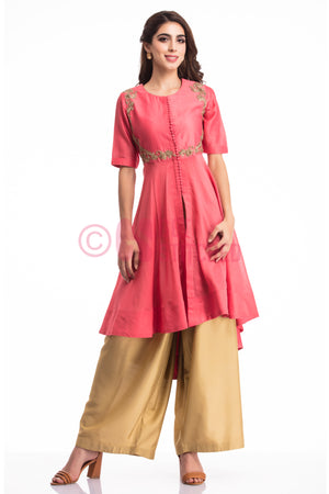 Dark Onion Pink High Low Kurta Set