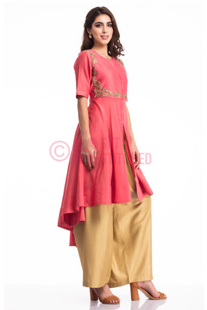 Dark Onion Pink High Low Kurta Set at doorstep
