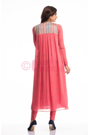 Onion Pink Gathers kurta & churridar set back view