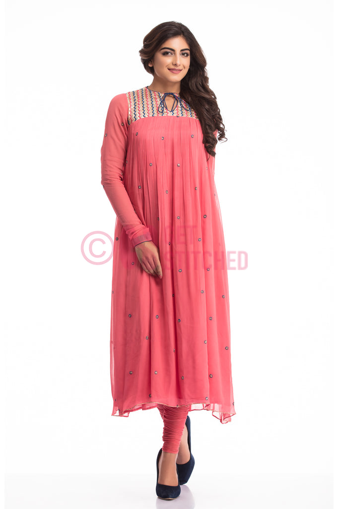 Get Onion Pink Gathers kurta & churridar set in Delhi at doorstep