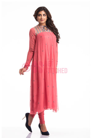 Onion Pink Gathers kurta & churridar set