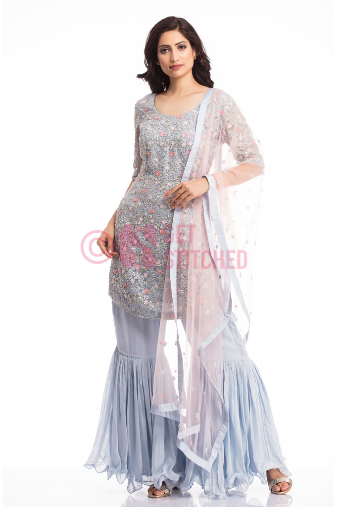 Powder Blue Kurta & Sharara at doorstep in Delhi