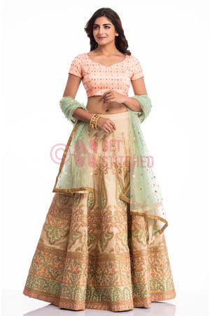 Peach & Biege Lehenga Choli with pista Green dupatta online delivery at your doorstep in Delhi