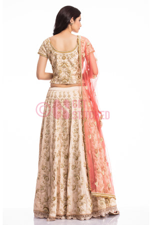 Biege Lehenga Choli with Peach Dupatta back view