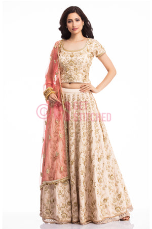 Get Beige Lehenga Choli with Peach Dupatta at your doorstep