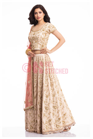 Biege Lehenga Choli with Peach Dupatta front view