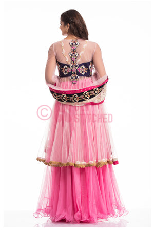 Baby Pink Short Anarkali with Skirt back view